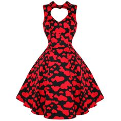 Hearts Roses London Red Heart Valentines Vintage 50s Party Prom Swing Dress | eBay