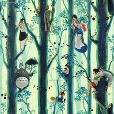 Miyazaki / Ghibli Tribute (repetitive wallpaper) by *Qinni on deviantART