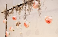 Spanish moss decor for mantles--light and airy...could do this for the head table