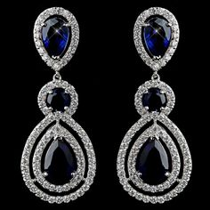 Gorgeous Sapphire Blue CZ Dangle Earrings - Affordable Elegance Bridal -
