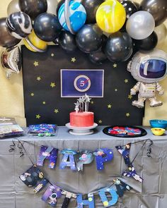 The space desserts and the space decor were on point. We had a very happy birthday boy! Balloon Decorations Party, Balloon Garland, Birthday Party Decorations, Balloon Arch, Happy Birthday Boy, Boy Birthday Parties, 7th Birthday, Birthday Ideas, Galaxy Balloons
