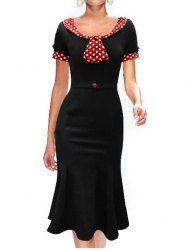 Vintage Scoop Collar Short Sleeve Polka Dot Fishtail Mermaid Dress For Women (BLACK,L) | Sammydress.com Mobile