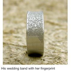 Wedding band with her fingerprint Ring