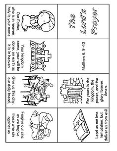 "Lords Prayer 1 Page Minibook Easy To Read. This morning I read from 2Tim.3:15 ""and that from childhood you have known the Holy Scriptures, which are able to make you wise for salvation through faith which is in Christ Jesus."" I am committed to teaching my kids and my daycare kids scripture and hope to attempt The Lord's prayer this summer with 3-year-olds! :)"