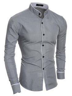 Men Shirt Luxury Brand 2018 Male Long Sleeve Shirts Casual Mens Edge Collar  Slim Fit Dress 0d62daba021bb