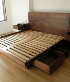 Diy Platform Bed With Drawers Plans Tips For Building A Simple Inside Diy Queen Bed Frame How To Diy Queen Bed Frame Plans Raised Platform Bed, King Platform Bed Frame, Platform Bed Plans, Platform Bed With Drawers, Bed Frame With Drawers, Bed Frame With Storage, King Size Bed Frame, Platform Beds, Large Drawers
