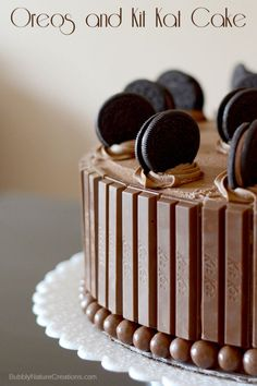 Oreos and Kit Kat Cake!  Beautiful way to decorate with candy and cookies!