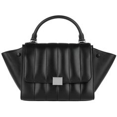 Celine Handle Bag - Small Quilted Trapeze Tote Black - in black -... (9.365 BRL) ❤ liked on Polyvore featuring bags, handbags, tote bags, black, pocket tote, quilted handbags, trapeze tote, evening handbags and celine handbags
