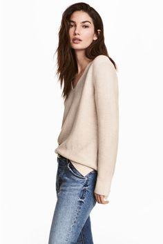 Garter-stitched jumper - Light beige - Ladies | H&M CA