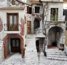 Presepe Napoletano Paesaggio Artistico Artigianale Fatto A Mano Borgo Antico