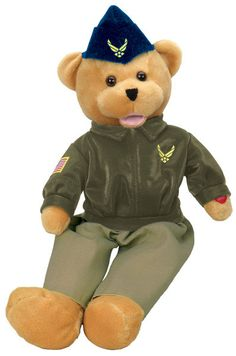 "Show your hero how proud you are of him with this unique plush 19"" United States Air Force bear. His Head sways and mouth moves while singing, ""The U.S. Air Force"", aka ""Wild Blue Yonder"". This is a 1"