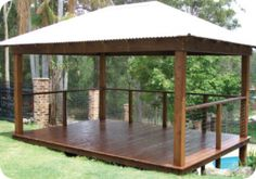 5 x Colorbond Gazebo with Square Posts, Timber Deck and Stainless Steel Handrails Diy Gazebo, Backyard Gazebo, Garden Gazebo, Pergola Patio, Pergola Ideas, Patio Ideas, Outdoor Pavilion, Outdoor Gazebos, Outdoor Structures