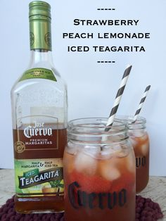 strawberry peach lemonade iced teagarita with Jose Cuervo