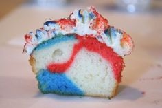 Fourth of July cupcakes with swirled batter.