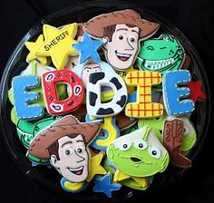 So perfect for a toy story birthday party! - Toys for years old happy toys Toy Story Theme, Toy Story Party, Toy Story Birthday, Birthday Ideas, 3rd Birthday, Cookies For Kids, Cute Cookies, Cupcake Cookies, Sugar Cookies