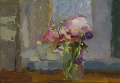 Christine Lafuente, Peonies and Purple Flowers, oil on board, 13 x 18 inches