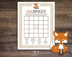 Instant Download Orange Fox Baby Shower Bingo by Studio20Designs