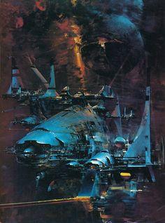 Science Fiction Illustrations by John Berkey - Sci-Fi Space Art Space Fantasy, Sci Fi Fantasy, Fantasy Artwork, Concept Ships, Concept Art, John Berkey, Sci Fi Kunst, Science Fiction Kunst, Science Art