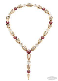 Colar Serpenti com rubelitas, quartzos e diamantes em ouro rosa