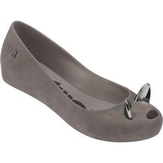 Melissa Ultragirl Cat Grey (£78) ❤ liked on Polyvore featuring shoes, flats, metallic shoes, melissa flats, metallic flats, cat flat shoes and peeptoe flats
