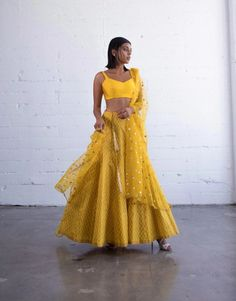 Rayah Lengha – KYNAH - Bright yellow hand block printed lengha paired with a matching blouse with a side zipper. Comes with a matching dupatta. Please note there will be a variation on the tassels. Garment Manufacturing, Summer Dresses, Formal Dresses, Lehenga, Desi, Indian, Couture, Blouse, Skirts