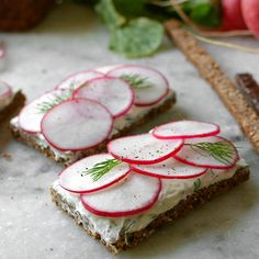 Pumpernickel and Radish Tea Sandwiches Recipe Lunch with cheese, dill, chives, salt, pepper, pumpernickel bread, radishes