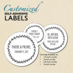 Add a personalized touch to candy bags, jars, envelopes, boxes, and favors of all sorts for weddings, bridal showers, Sweet 16 celebrations, bar/bat mitzvahs, birthday parties, baby showers, engagement parties, graduations, etc. Available as round circles with the following diameters…  1.5 inches = 38.1 mm 2 inches = 50.8 mm 2.5 inches = 63.5 mm 3 inches = 76.2 mm  *** Prices for Different Sizes & Sets can be found in drop-down menu under How many labels? ***  The...