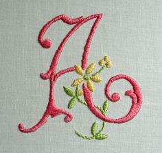 ♥-♥-♥ creating cuteness, one stitch at a time ♥-♥-♥ Embroidery Alphabet, Hand Work Embroidery, Embroidery Monogram, Simple Embroidery, Hand Embroidery Patterns, Ribbon Embroidery, Embroidery Stitches, Homemade Bows, Needlework