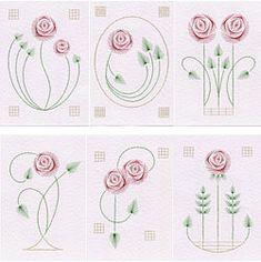 Paper Embroidery Value Pack No. Rose at Stitching Cards - ePatterns for paper embroidery Embroidery Cards, Rose Embroidery, Embroidery Patterns, Stitching Patterns, Machine Embroidery, Art Nouveau Pattern, Art Nouveau Design, Charles Rennie Mackintosh Designs, Modernisme