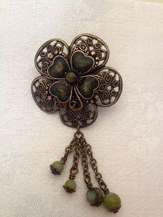 5 Connemara marble shamrock carved beads Jewelry craft Irish National Gemstone