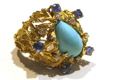 Abercrombie Gems and Precious Metals: 1970's 14k Gold, Turquoise, Diamond, and Sapphire Cocktail Ring
