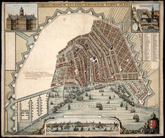 Map of Amsterdam Amsterdam Map, Star Fort, Classical Antiquity, Ancient Buildings, Walled City, Old Maps, City Maps, Historical Maps, Gravure