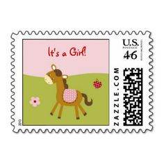 Pink Farm Animal Baby Girl Postage Stamps