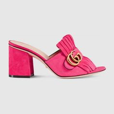 GUCCI Suede Mid-Heel Slide. #gucci #shoes #women's slides & mules