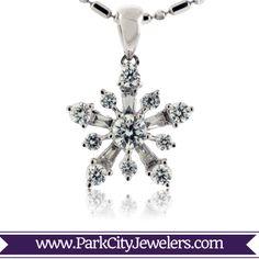 Bursting Diamond Snowflake Necklace  8KW .68ctw Diamond Snowflake Pendant Snowflake Jewelry, Baguette Diamond, Types Of Metal, Belly Button Rings, Snowflakes, Jewelery, Sparkle, White Gold, Schmuck
