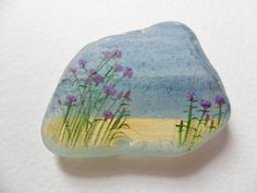 Thistles by the sea painting on sea glass