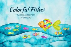 Colorful Fishes by ESchweitzerDesign on @creativemarket