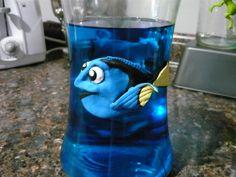 fimo clay dori add blue die to water an looks like dori is swimming