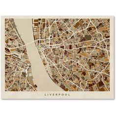 Trademark Fine Art Liverpool England Street Map 3 inch Canvas Art by Michael Tompsett, Size: 14 x 19, Brown