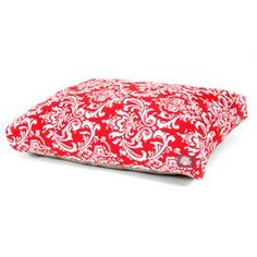 """From lazy afternoons on the deck to cozy evenings indoors, this chic pet bed adds a pop of stylish flair to your furry friend's routine. Product: Pet bedConstruction Material: Polyester cover, polyfill and waterproof baseColor: RedFeatures: French quarter patternZippered slipcoverOutdoor treated polyester with up to 1000 hours of UV protectionWaterproof 300/600 denier fabric baseDimensions:   Small: 4"""" H x 29"""" W x 36"""" DMedium: 5"""" H x 36"""" W x 44"""" D Large: 5"""" H x 42"""" W x 50"""" DCleaning and Care: M…"""