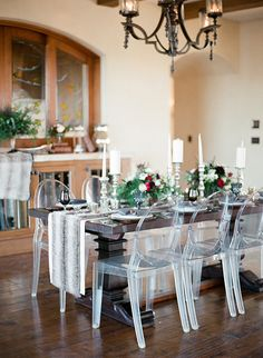 Elegant Farm Table with a Faux Fur Table Runner for a Fall wedding.