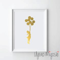 Hey, I found this really awesome Etsy listing at https://www.etsy.com/listing/219142160/balloon-girl-gold-foil-print-gold-print
