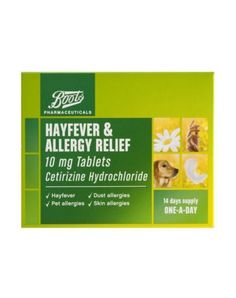 Boots Cetirizine Hydrochloride 14 Hayfever Allergy Relief Tablets - Boots