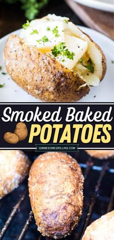 This baked potatoes recipe is the perfect side dish for summer grilling! Seasoned with salt, pepper, and garlic pepper and then slow cooked on your Traeger electric pellet grill, this quick and easy recipe will surely impress! Enjoy smoked cooking with this summer dinner idea! Best Side Dishes, Side Dish Recipes, Easy Dinner Recipes, Yummy Recipes, Breakfast Recipes, Grilling Ideas, Summer Grilling Recipes, Traeger Recipes, Smoker Recipes