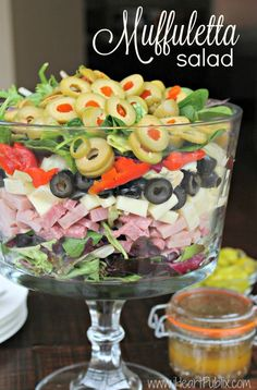 Muffuletta Salad - Easy & Delicious Recipe To Go With The Bertolli BOGO Sale At Publix! - - This post is brought to you by the folks at Bertolli. All comments and opinions are my own. The first day of spring is only a couple of weeks away. Easy Delicious Recipes, Yummy Food, Tasty, Healthy Recipes, Good Salad Recipes, Dinner Salad Recipes, Salad Recipes For Parties, Italian Salad Recipes, Chopped Salad Recipes