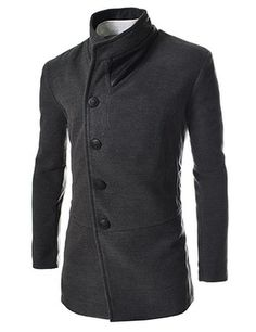 (CWC-CHARCOAL) Slim Unbalanced Leather Patched Wool Coat
