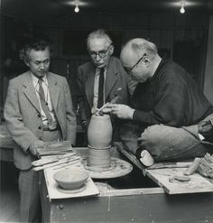 Hamada, Leach and Yanagi in the United States, probably Hawaii, in 1952     He was sought after so highly that in 1955 the Japanese government declared him a Living National Treasure. His studio has been turned in to a museum that houses much of his personal collection of craft work from around the world alongside a selection of his own pieces.