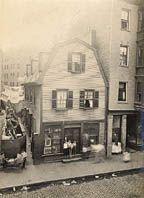 Wheeler. Oldest House in Boston, Prince St. Gelatin silver print. Ca. 1890s.