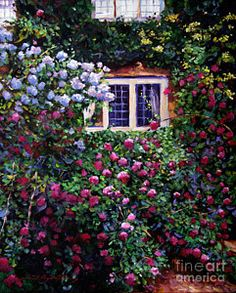 Cottage Painting - English Manor House Roses by David Lloyd Glover