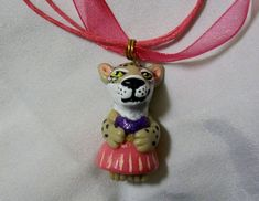 BOBCAT GIRL PENDANT necklace OOAK Polymer miniature ornament CHARM Leopaed